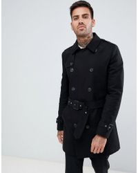 ASOS DESIGN - Shower Resistant Double Breasted Trench In Black - Lyst