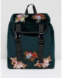 ASOS - Backpack In Green Velvet With Floral Embroidered Patches - Lyst