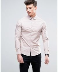 ASOS - Skinny Shirt In Dusty Pink - Lyst