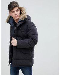 Mango | Man Parka With Faux Fur Hood In Black | Lyst
