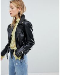 New Look - Pu Biker Jacket - Lyst