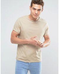 ASOS - T-shirt With Crew Neck In Beige - Lyst