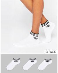 adidas Originals - Originals 3 Pack White Ankle Socks With Trefoil Logo - Lyst