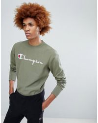 Champion - Sweatshirt With Large Logo In Khaki - Lyst