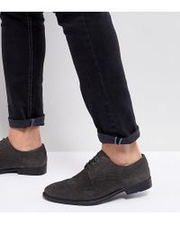 ASOS - Wide Fit Casual Brogue Shoes In Grey Suede With Distressed Sole -  Lyst