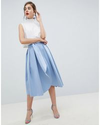 571609d50c ASOS Asos Scuba Midi Prom Skirt With Scallop Hem In Floral Print in Pink -  Lyst