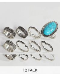 ASOS - Design Pack Of 12 Festival Engraved Burnished Stone Rings - Lyst