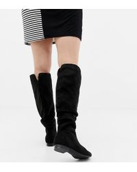 7df59405933a ASOS Katcher Extra Wide Leg Over The Knee Boots In Wide Fit in Black ...
