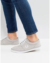 Fred Perry - Stratford Micro Fibre Trainers In Grey - Lyst