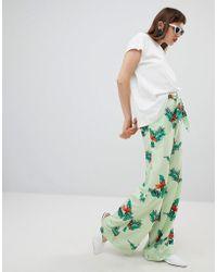 Mango - Floral Wide Leg Trouser In Green - Lyst
