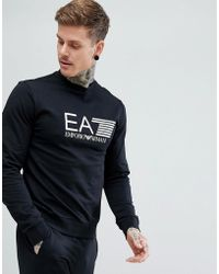 EA7 - Crew Neck Large Logo Sweat In Black - Lyst