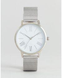 ASOS - Minimal Silver Mesh Watch - Lyst