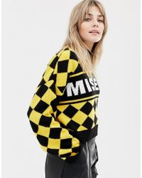 The Ragged Priest - Cropped Knitted Jumper With Diamond Design And Slogan - Lyst