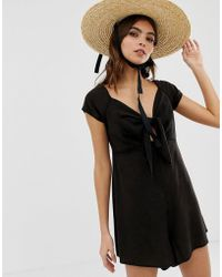 9f54a196cebf Lyst - ASOS Bandeau Jumpsuit With Sweetheart Neck in Black