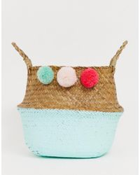 South Beach - Foldable Basket Beach Bags With Pom Poms - Lyst