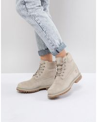 Timberland - 6 Inch Premium Taupe Suede Flat Boots - Lyst