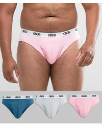 ASOS - Plus Briefs With Branded Waistband In Pink Blue & Grey 3 Pack - Lyst