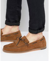 ASOS - Loafers In Tan Suede With Fringe Detail And Natural Sole - Lyst