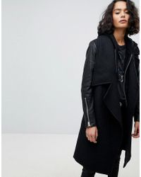 AllSaints - Waterfall Coat With Leather Sleeves - Lyst