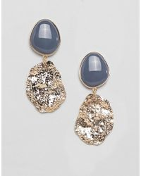 ASOS - Design Earrings With Resin And Textured Metal In Gold - Lyst