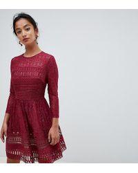 ASOS - Asos Design Premium Petite Lace Mini Skater Dress - Lyst