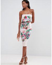 ASOS - Floral Bandeau Crop Top Scuba Midi Dress - Lyst