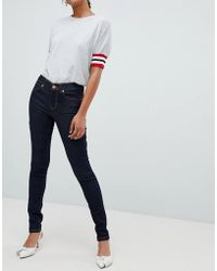 Oasis - Skinny Jeans With Contrast Stitching In Raw Wash - Lyst