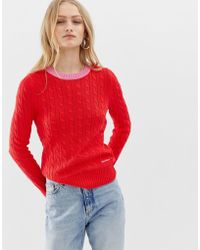 Calvin Klein - Cable Knit Jumper With Contrast Hems - Lyst