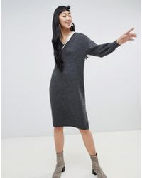 Monki - V-neck Knitted Dress In Grey - Lyst