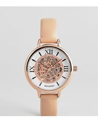 Sekonda - Exposed Mechanics Leather Watch In Nude Exclusive To Asos - Lyst