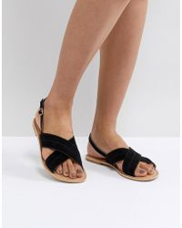 Park Lane - Suede Flat Sandals - Lyst