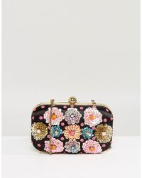 Park Lane - Handmade Floral Embellished Structured Clutch Bag - Lyst