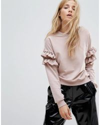 New Look - Frill Sleeve Sweat - Lyst