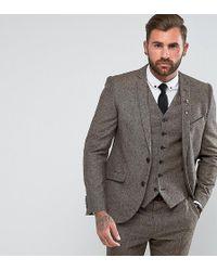 Heart & Dagger - Slim Suit Jacket In Herringbone Tweed - Lyst
