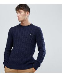 Farah - Ludwig Cable Crew Neck Jumper In Navy - Lyst