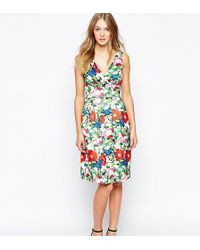 Wolf & Whistle - Midi Prom Dress In Botanical Floral Print - Lyst