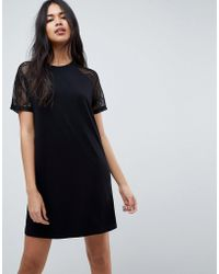 ASOS DESIGN - Asos T-shirt Dress With Lace Raglan Sleeve - Lyst