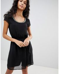 ONLY - Nete Dafne Dress With Beaded Neck Trim - Lyst