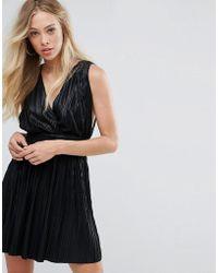 Oh My Love - Pleated Plunge Grecian Mini Dress - Lyst
