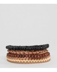 ASOS - Bead And Braid Leather Bracelet Pack - Lyst