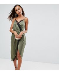 ASOS - Hammered Satin Lace Trim Cami Sexy Wrap Midi Dress - Lyst