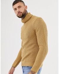 774a700f2b24f7 SIKSILK Knitted Roll Neck Sweater In Camel Exclusive To Asos in ...