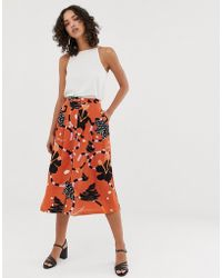 SELECTED Femme Button Down Midi Skirt In Abstract Print