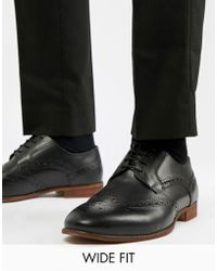 KG by Kurt Geiger - Kg By Kurt Geiger Wide Fit Brogues In Black Leather - Lyst