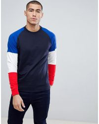 Only & Sons - Crew Neck Sweat With Contrast Colour Block Sleeves - Lyst