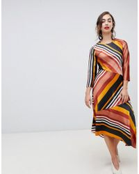 Warehouse - Hanky Midi Dress In Stripe - Lyst