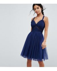 Chi Chi London - Tulle Midi Dress With Lace Detail - Lyst
