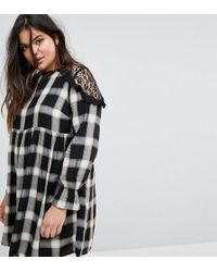 Simply Be - Lace Insert Check Smock Dress - Lyst
