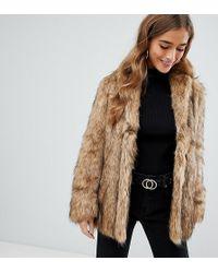 ASOS - Asos Design Petite Stand Collar Faux Fur Coat - Lyst