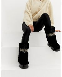 Love Moschino - Faux Fur Stud Snow Boots - Lyst